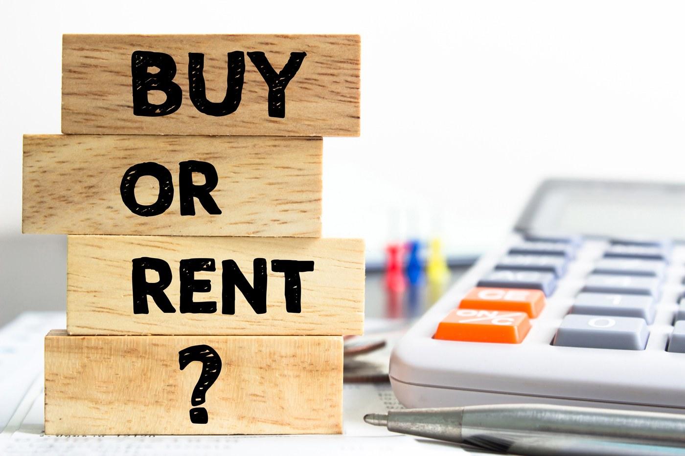 buy or rent written on blocks