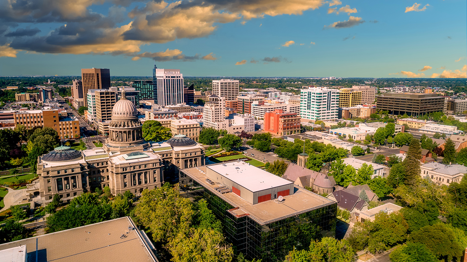 Aerial view of the Boise Idaho skyline in the morning light