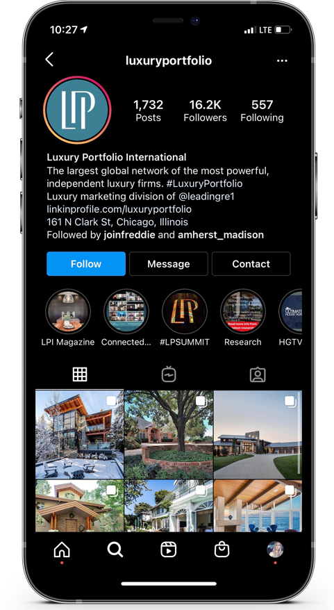 Luxury Real Estate Instagram Page